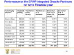 performance on the epwp integrated grant to provinces for 12 13 financial year