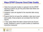 ways epwp ensures good data quality