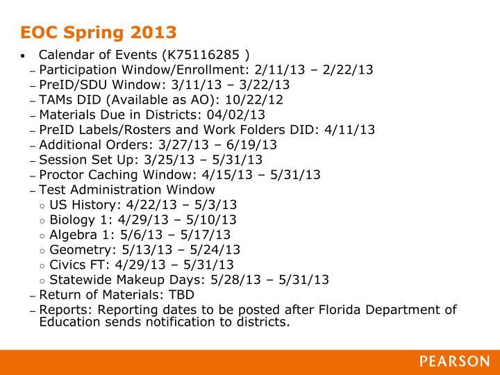 EOC Spring 2013