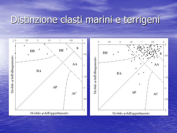 Distinzione clasti marini e terrigeni