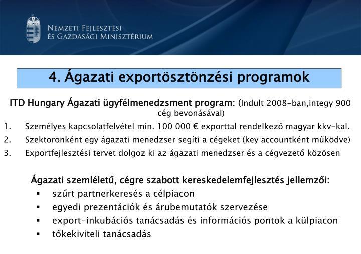 ITD Hungary Ágazati ügyfélmenedzsment program: