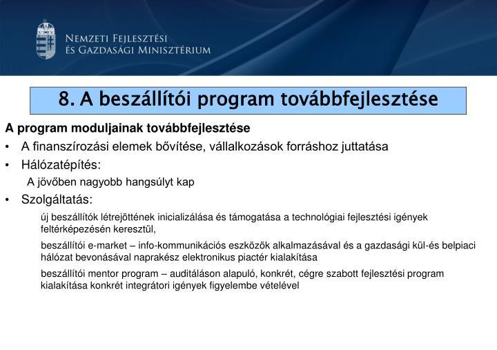 A program moduljainak továbbfejlesztése
