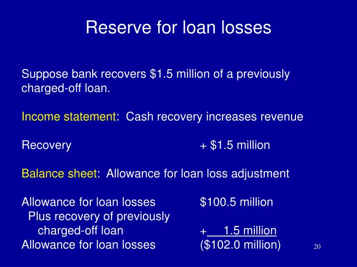 Reserve for loan losses