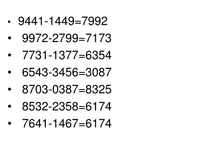 9441-1449=7992