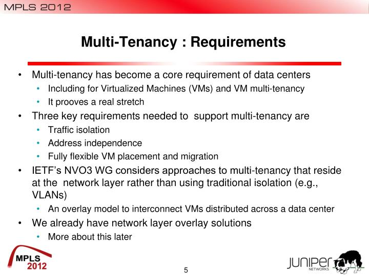 Multi-Tenancy : Requirements