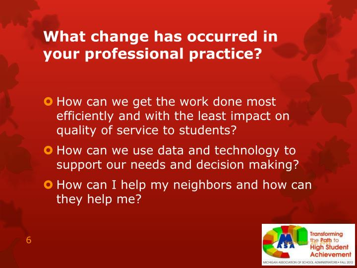 What change has occurred in your professional practice?