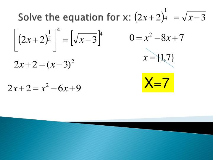 Solve the equation for x: