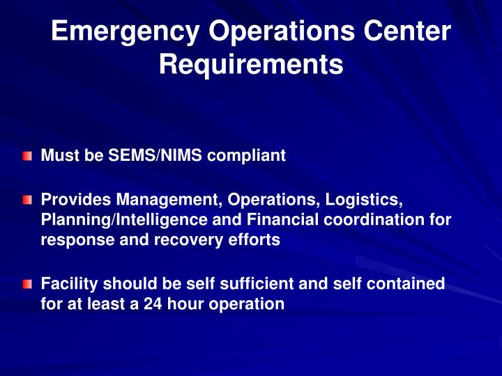 Emergency Operations Center Requirements