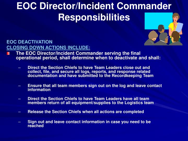 EOC Director/Incident Commander Responsibilities