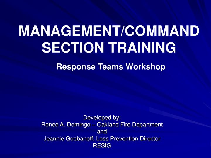 MANAGEMENT/COMMAND SECTION TRAINING