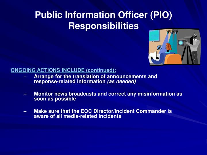 Public Information Officer (PIO) Responsibilities