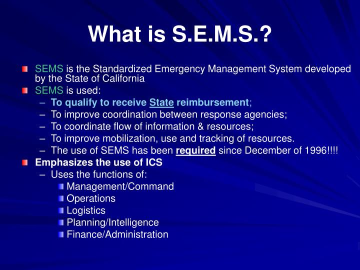 What is S.E.M.S.?
