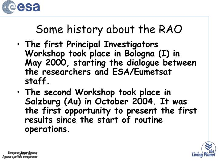 Some history about the RAO