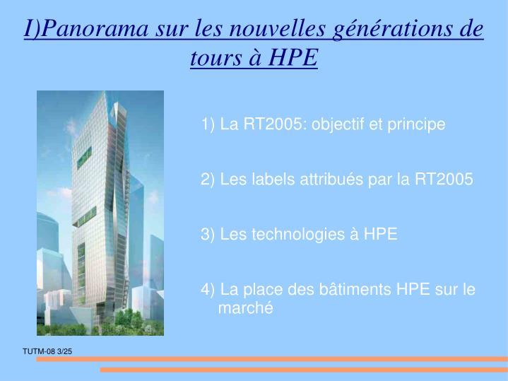 I)Panorama sur les nouvelles générations de tours à HPE