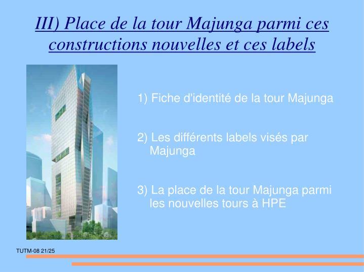 III) Place de la tour Majunga parmi ces constructions nouvelles et ces labels