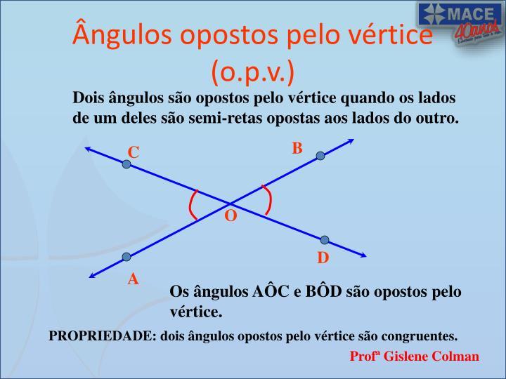 Ângulos opostos pelo vértice (o.p.v.)