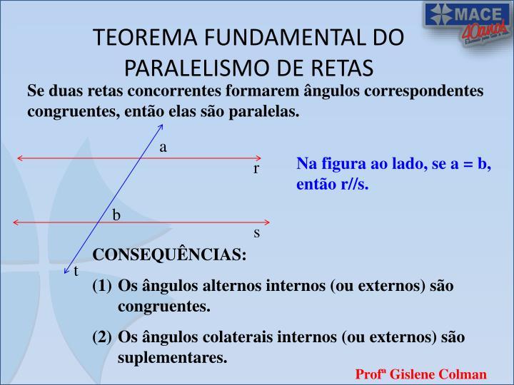 TEOREMA FUNDAMENTAL DO PARALELISMO DE RETAS