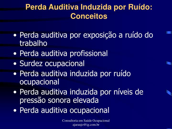 Perda auditiva induzida por ru do conceitos