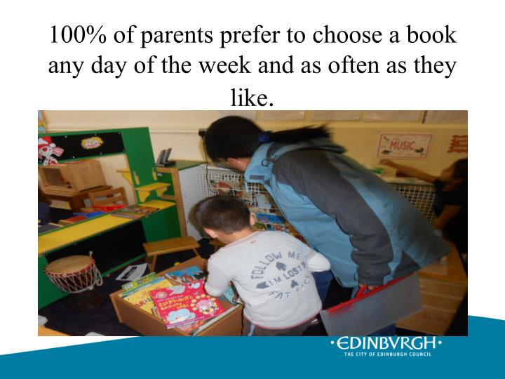 100% of parents prefer to choose a book any day of the week and as often as they like
