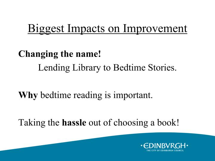 Biggest Impacts on Improvement