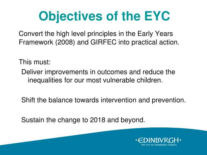 Objectives of the eyc