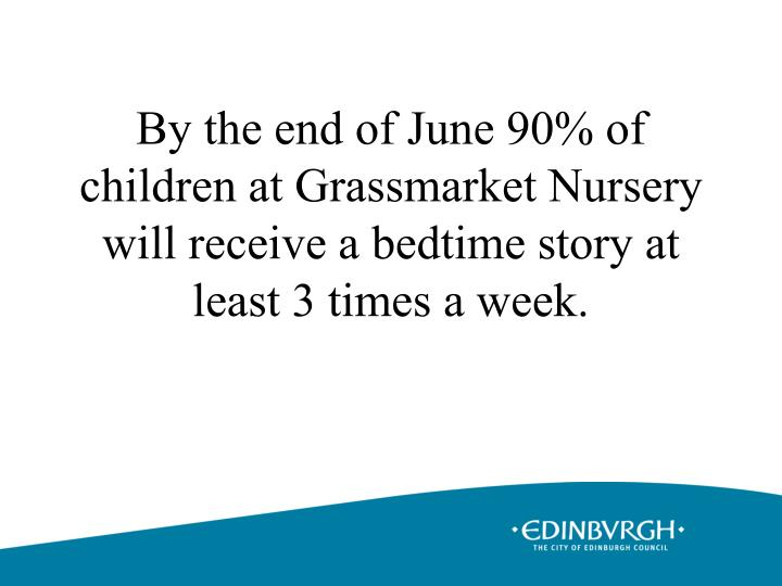 By the end of June 90% of children at Grassmarket Nursery will receive a bedtime story at least 3 times a week.