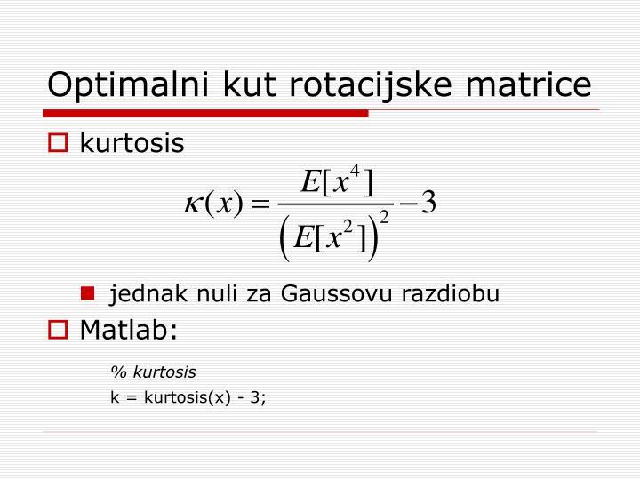Optimalni kut rotacijske matrice