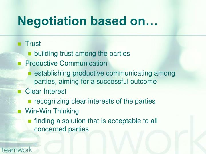 Negotiation based on…