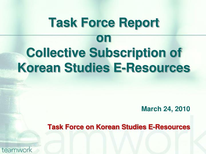 Task force report on collective subscription of korean studies e resources