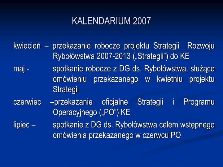 KALENDARIUM 2007