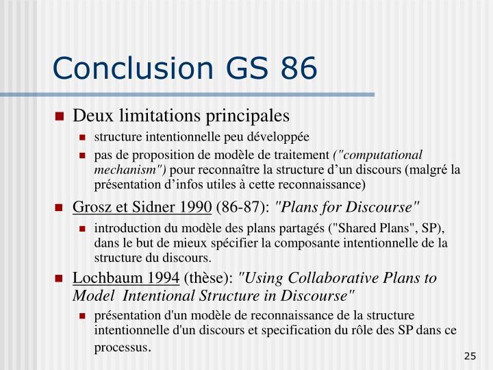 Conclusion GS 86