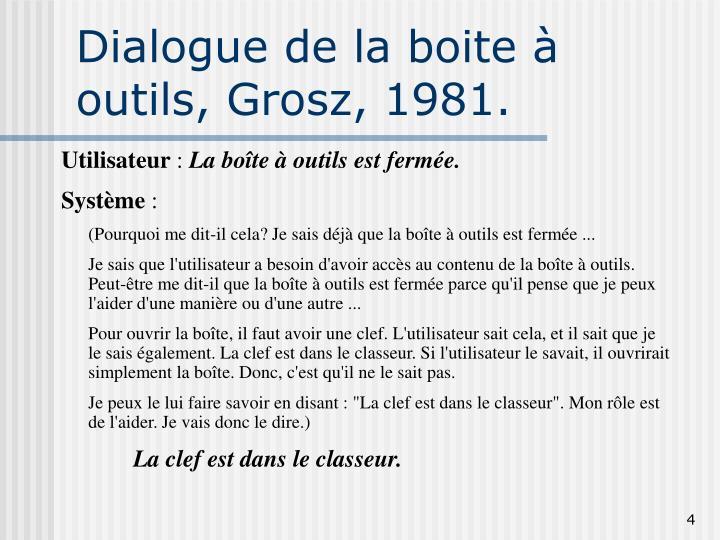 Dialogue de la boite à outils, Grosz, 1981.