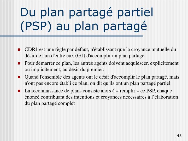 Du plan partagé partiel (PSP) au plan partagé