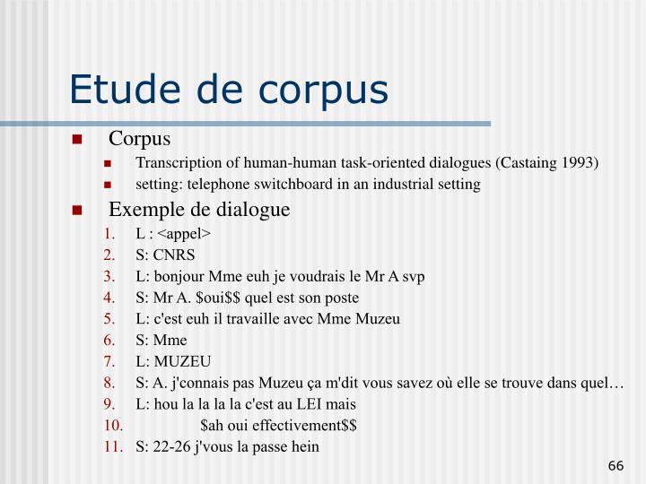 Etude de corpus