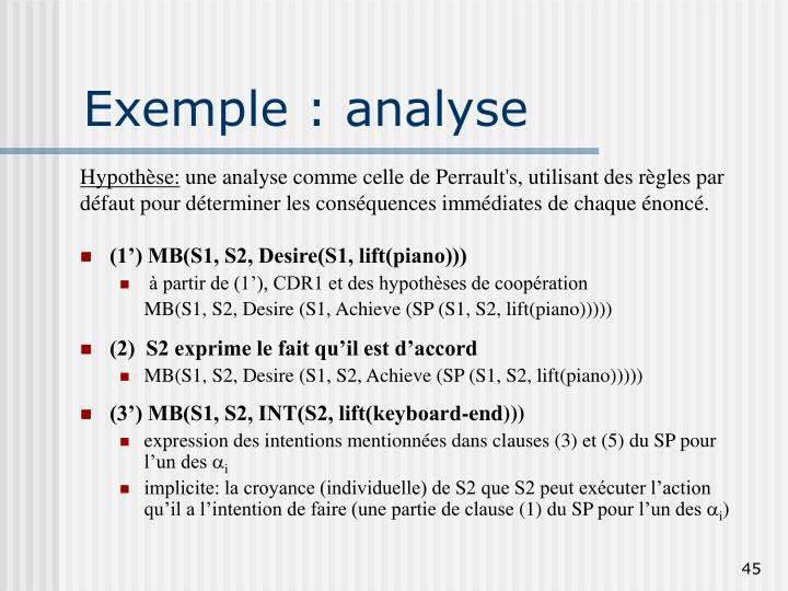 Exemple : analyse