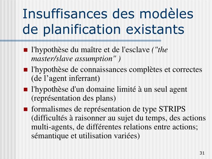 Insuffisances des modèles de planification existants