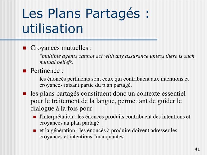Les Plans Partagés : utilisation