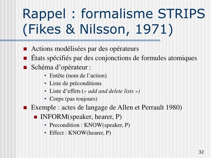 Rappel : formalisme STRIPS