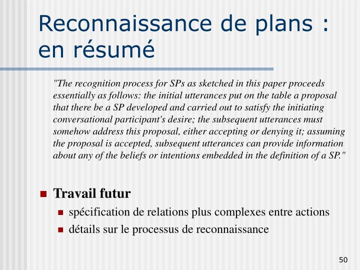 Reconnaissance de plans :