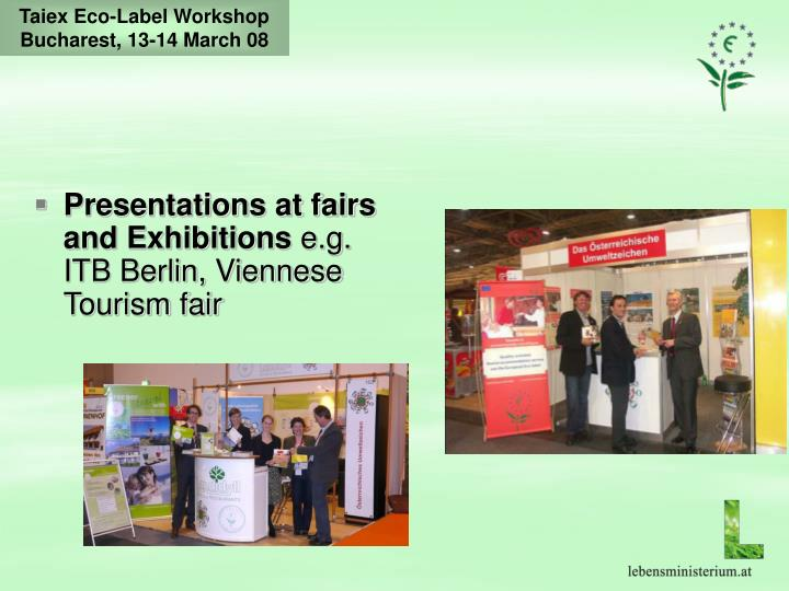 Presentations at fairs and Exhibitions
