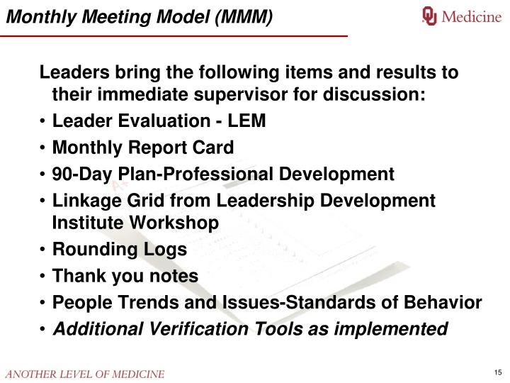 Monthly Meeting Model (MMM)