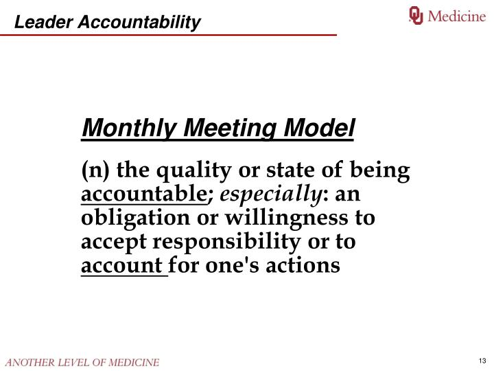 Monthly Meeting Model