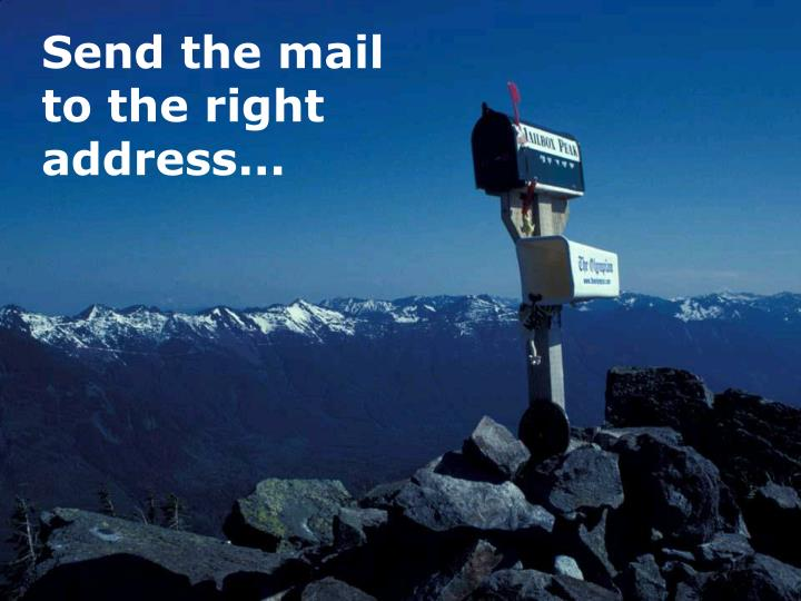 Send the mail to the right address...