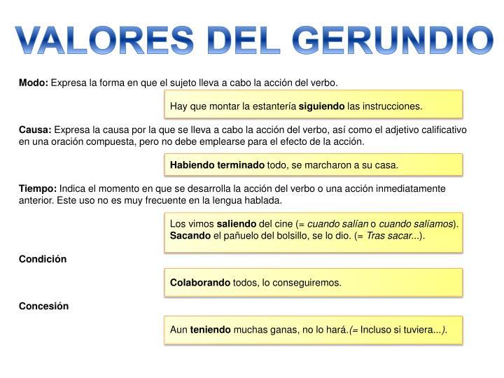 VALORES DEL GERUNDIO