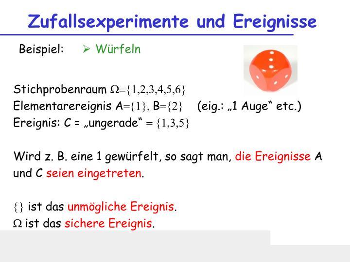 Zufallsexperimente und Ereignisse