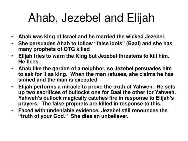 Ahab, Jezebel and Elijah