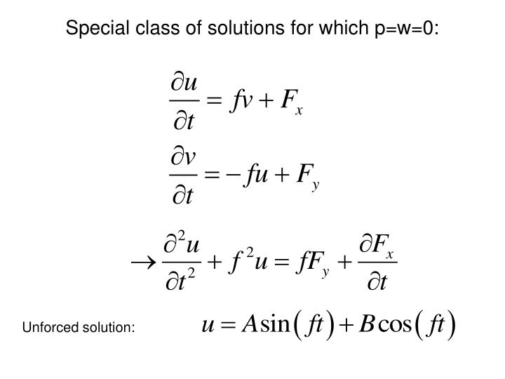Special class of solutions for which p=w=0: