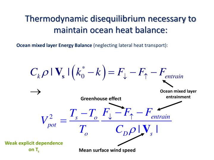 Thermodynamic disequilibrium necessary to maintain ocean heat balance: