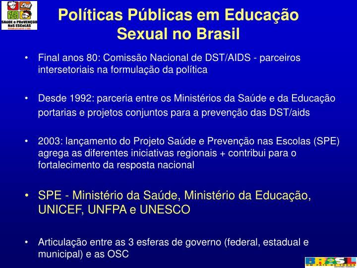 Políticas Públicas em Educação Sexual no Brasil