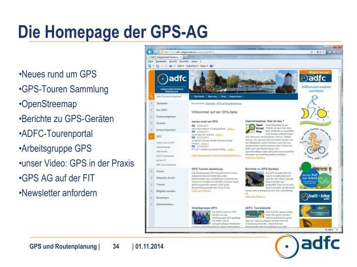 Die Homepage der GPS-AG